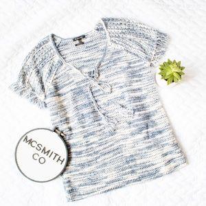 Massimo Dutti Fringe Knit Tassel Short Sleeve Top